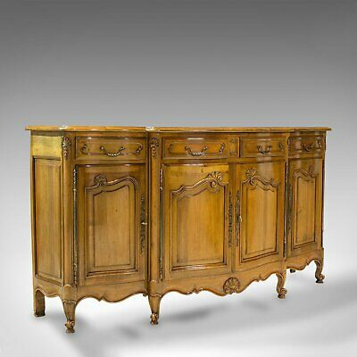 Vintage Bow-Front Dresser, French, Walnut, Provincial, Sideboard, Circa 1930