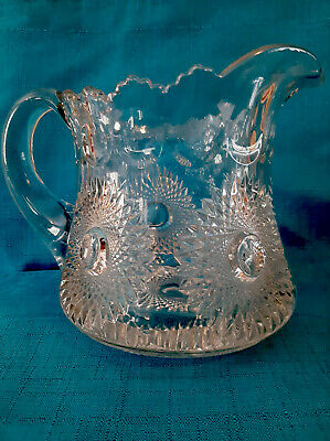 Antique Heisley Early American Glass Pitcher C 1900