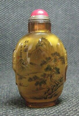 Chinese Glass Inside-drawing Pine Trees And Landscape Snuff Bottle//--