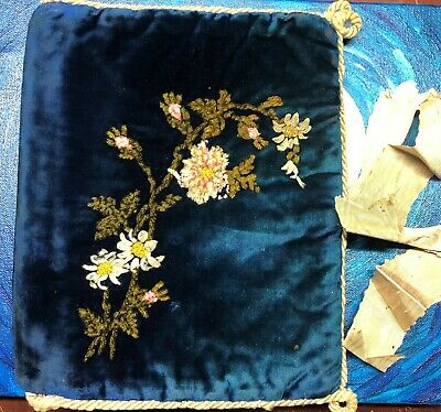 Antique Blue Velvet Victorian Era Book Or Bible Cover With Needlepoint Flowers
