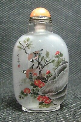 Chinese Glass Traditional Inside-drawing Flower And Birds Snuff Bottle///-----