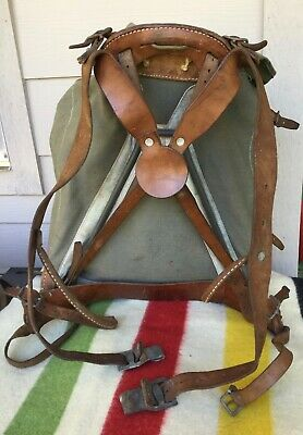 Vtg Hiking WWII 3 Crown Military Canvas RUCKSACK BACKPACK Frame Leather Straps