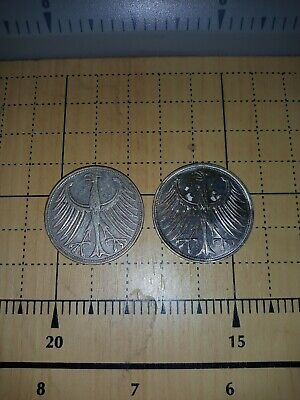 1951-F & 1964 Germany 5 Mark .625 Silver Lot of 2 About Uncirculated Coins