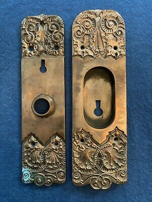 Antique Ornate Back Plate & Pocket Door RARE Heavy Gorgeous