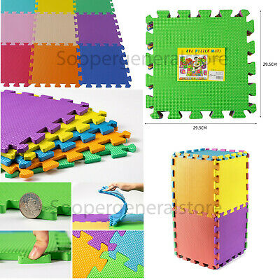 Kids Children PlayMats Soft Foam Interlocking Play Mats Outdoor Activity 9 Pc