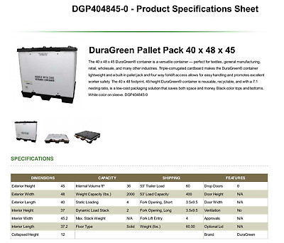 "DuraGreen 40"" x 48"" x 45"" Pallet-Pack Container"
