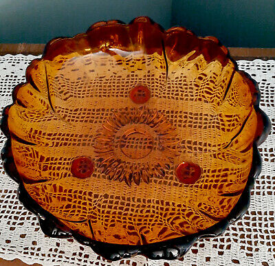Vintage MCM Amber candy dish, Sunflower Pattern