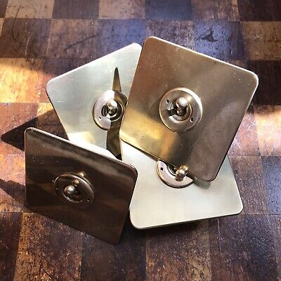 Vintage Art Deco Crabtree Brass Toggle Dolly On Off  Light Square Switch Plate