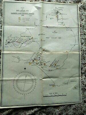 Old Port Phillip Bay Map Harbour And Channel Lights 1960 Victoria Australia
