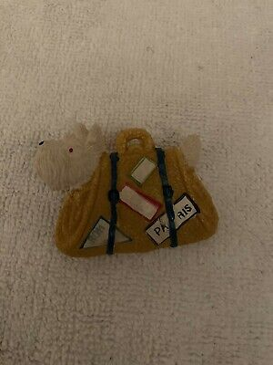 Vintage Plastic Ivory Scottie Dog Pin in Yellow Travel Tote Bag