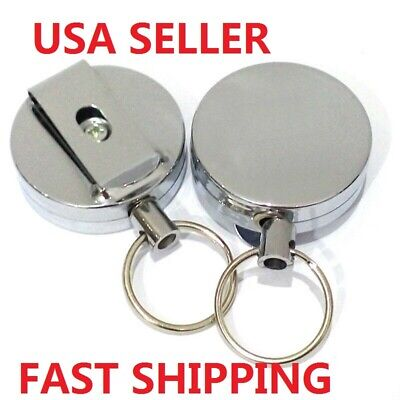 2Pcs Retractable Metal Reel Chain ID Holder Badge Key Ring KeyChain Well