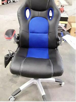 8 Point Massage Racing Office Computer Chair - Faux Leather Ergonomic Blue