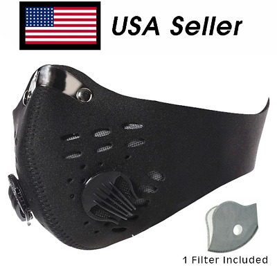 Face Mask W/ Active Carbon Filter Dual Exhale Valves Anti-droplets USA Ship SALE