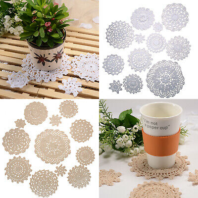 Embroidered Lace Place Mat Doilies Crocheted Coaster Cup Glass Mat Table Setting