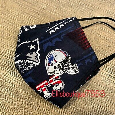 New England Patriots Face Mask Cotton w/Filter Pocket