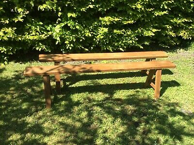 French Antique vintage oak benches early 20th century refectory farmhouse pair