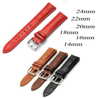 14 16 18mm 20mm 22mm 24mm Men Women Ladies Leather Watch Strap Band Replacements