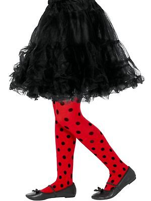 Child Girls LadyBird Red Black Spots fancy Dress Costume Book Week Tights