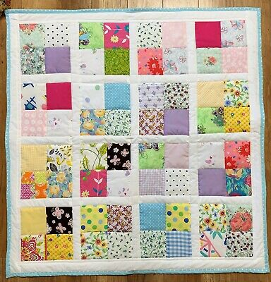 "Scrappy Baby Girl's Quilt Handmade Patchwork 38"" x 38"" New"