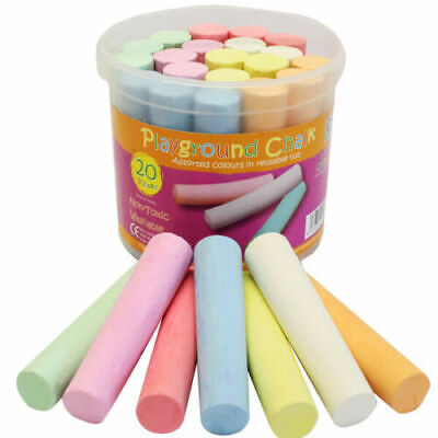20 Childrens Kids Chunky Playground Chalk Assorted Colours