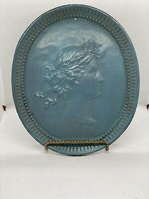 Antique Large Victorian Cast Iron Plaque Medallion Of Woman