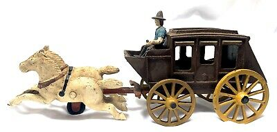 Antique Vintage Cast Iron Horse Drawn STAGE COACH Metal Toy with COWBOY Driver