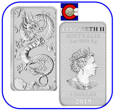 2019 Australia Dragon 1 oz. Silver Bar BU - in direct fit capsule