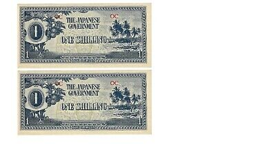 (2) 1 Shilling Banknotes /Occupied Japan -UNC