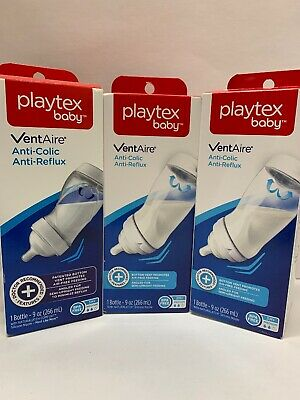 3 Playtex Baby VentAire Anti-Colic Anti-Reflux, BPA Free, Bottles 9 oz