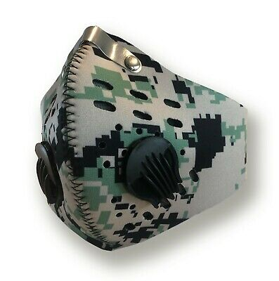 Cycling Mask with Filter Dual-valve Breathable Anti-droplets USA Ship Green Camo