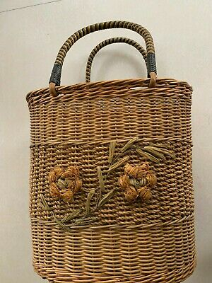 VTG Tall Woven Wicker Round Oval Basket Double Handle 12""