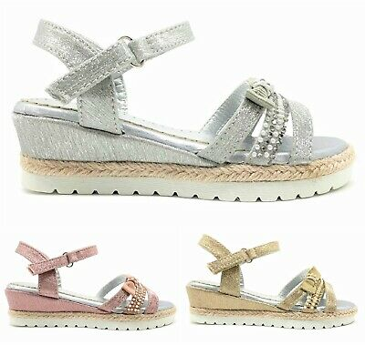 Kids Girls Childrens Wedge Summer Low Heel Bow Ankle Strap Bow Sandals Shoes Sz