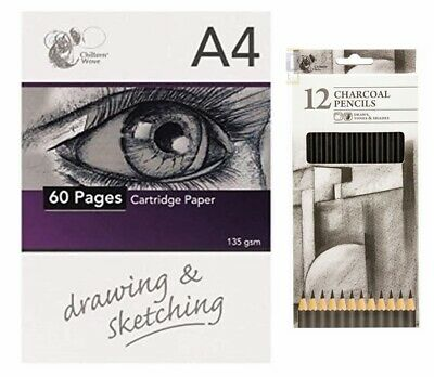 Chiltern Arts Crafts 60 Page Sketch Pad 12x Charcoal Pencils Drawing Materials