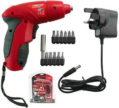 Dekton Power 13pc Rechargeable 3.6v Cordless Screwdriver Kit with Screw Bits