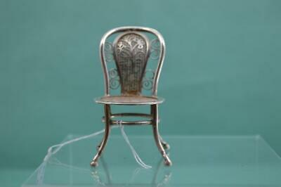 Antique Chinese Export Silver Miniature Chair weave Decoration 5.7 cm Cumshing ?