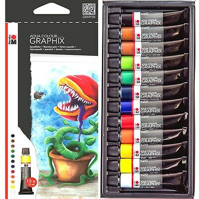 12 Brilliant Colours x 12ml DESIGNER WATERCOLOUR Paint Tubes Set Art Kit MARABU