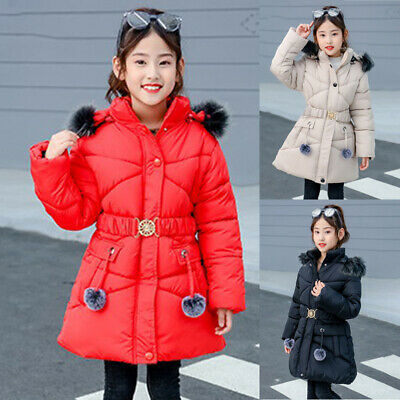 Children Warm Padded Coat Quilted Fur Collar Jacket Puffer Parka Overcoat Tops