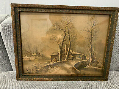 Antique Late 19th / Early 20th Century Print or Painting of Snowy Landscape
