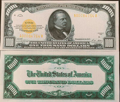 Reproduction United States $1000 Bill 1928 Gold Certificate Copy USA Currency