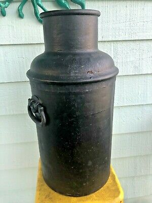 Antique large cast iron 10 Gallon Milk Can Dairy Farm rivets handles heavy solid