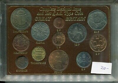 Great Britain Complete Decimal Issue & Last LSD Issue Coin 12 Coin Set