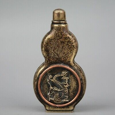 Collectable Old Bronze Hand-Carved Myth Dragon Cucurbit Shape Noble Snuff Bottle