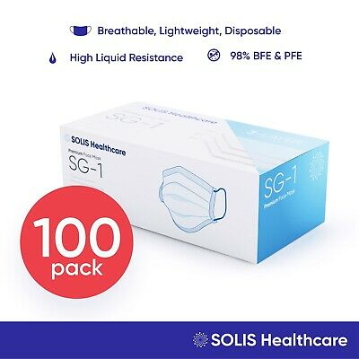 100 Pack - [SOLIS SG-1] Medical Face Mask Disposable Surgical Dental Cover 3-Ply