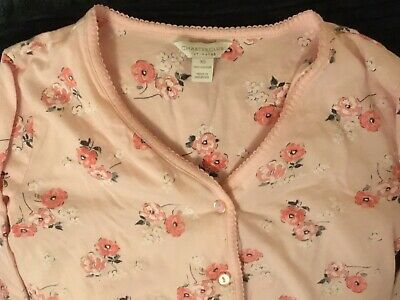 Charter Club Womens Pajamas, Long Sleeve, XS, Cotton, Light Pink w/flowers, NWOT