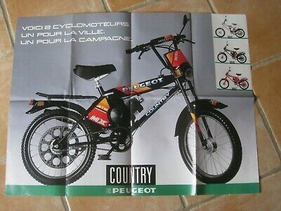 poster ancien peugeot country mobylette cyclomoteur