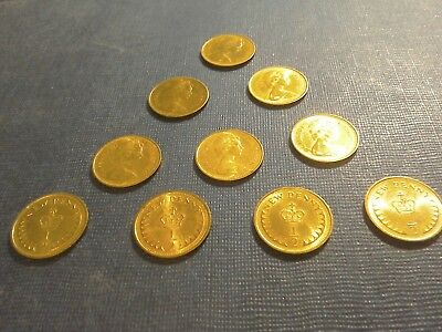 English Coins 10 x 1/2 New Pennies dated 1971.Circulated but very bright.