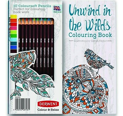 Derwent Coloursoft Pencils + Adult Colouring Book Colour Soft Art Set MADE IN UK