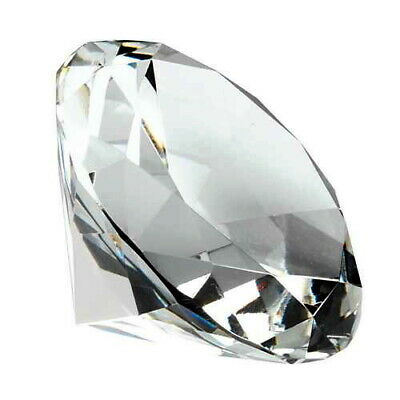 CRYSTAL DIAMOND SHAPED PAPERWEIGHT, 60mm, GIFT BOXED, FREE ENGRAVING, FREE POST