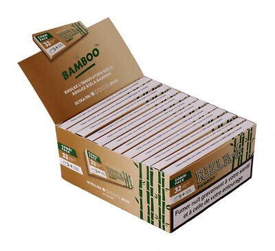 1 Box (24 Heftchen) RIZLA Bamboo Kombi Paket KS Slim Papers aus Bambus + Tips