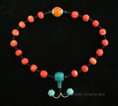 Nice Chinese Old Red Coral Hand-Carved Beads Necklace